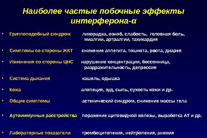 Побочные эффекты при лечении гепатита с